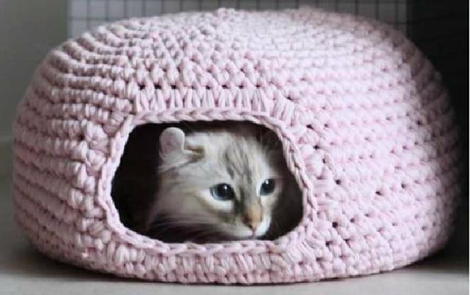 Cama Caverna Feita de Crochê Para Gatos – Idéias de Como Fazer