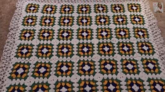 Manta em Lã de Crochê nas Cores do Brasil – Material e Passo a Passo.