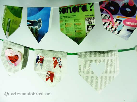 Bandeirinhas Feitas de Jornal e Revista – Materiais e Passo a Passo