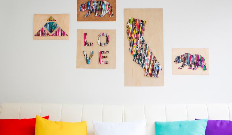 Quadro Decorativo Feito com Revistas Velhas – Como Fazer