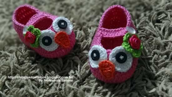 Sapatinho Corujinha Infantil Em Crochê – Material e Passo a Passo