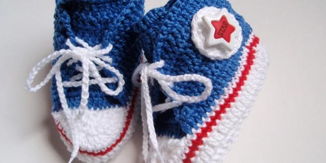 Sapatinho de Crochê Infantil All Star – Material e Passo a Passo