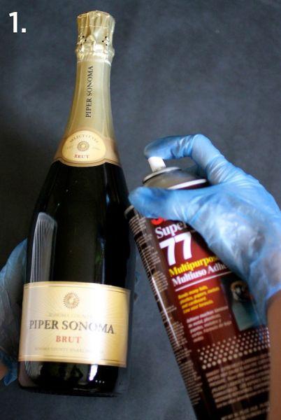 Garrafas de Champagne Decorada Passo 1