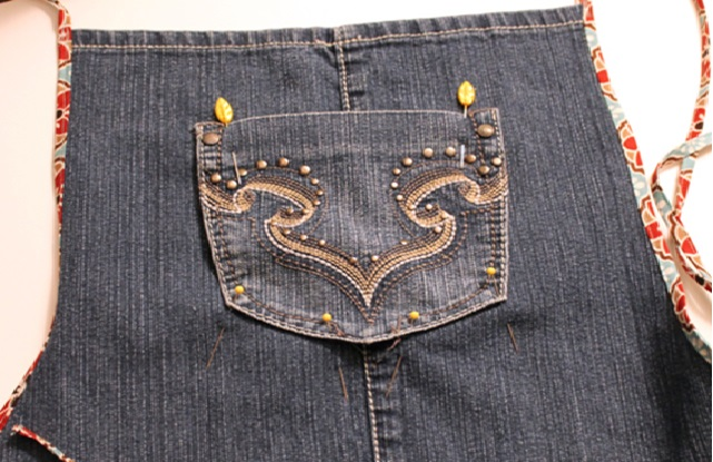 Avental de Jeans  bolso costura