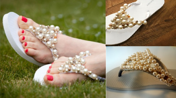 Sandália de Pérola em Chinelo Customizado – Como Fazer
