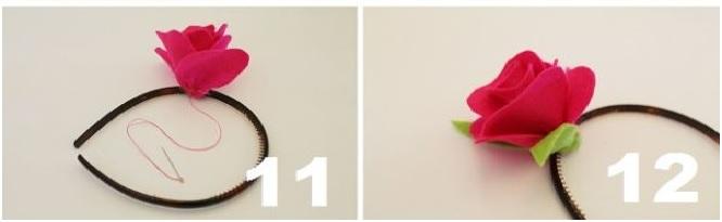 Arco de Cabelo Decorado Flores de Feltro  ca