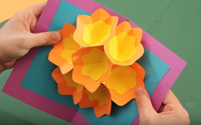 Cartão Flores 3D Dia das Mães - Material e Vídeo