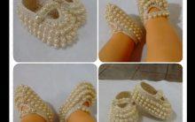 Sapatinhos Bebê Crochê Com Pérolas – Como Fazer