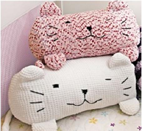 Almofada Gato Em Crochê – Materiais e Receita