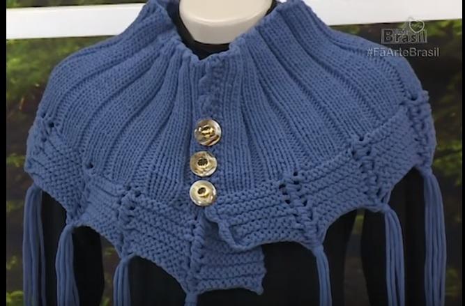 Poncho Azul Em Tricô - Material e Como Fazer