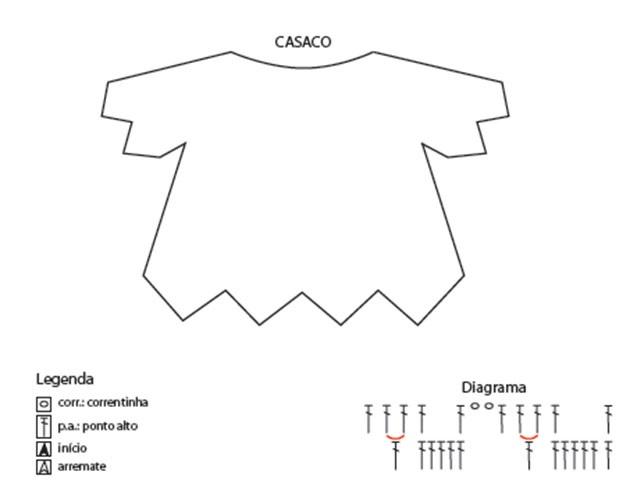 casaco de crochê bb diagrama