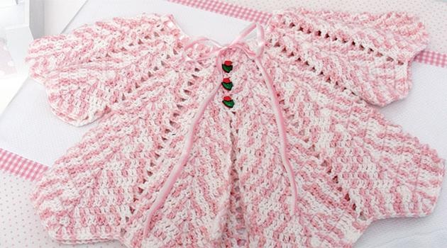 Casaco Bebê Rosa Mescla Crochê – Material e Como Fazer