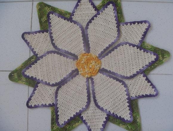 Tapete Flor Estrela Em Crochê – Material e Como Fazer