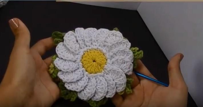 Flor Camomila Em Crochê – Material e Vídeo Aula