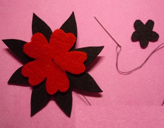Flor em Feltro - costura
