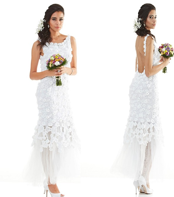 Vestido de noiva crochê .