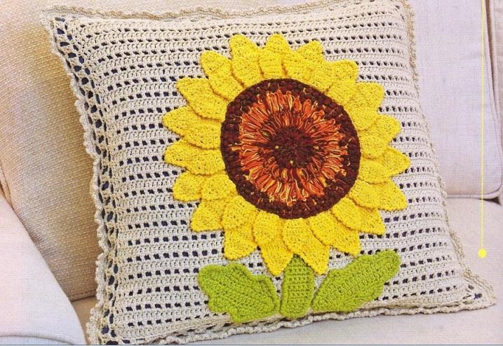 Almofada Girassol Em Crochê – Material e Como Fazer