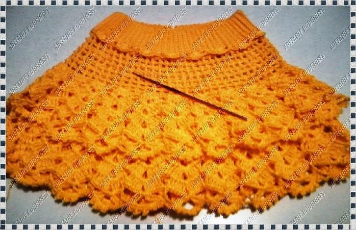 Saia Amarelo Ouro Em Crochê barrado cos