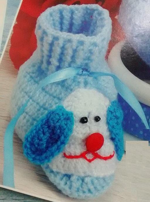 Sapatinho Cachorrinho de Bebê Em Crochê – Material e Como Fazer