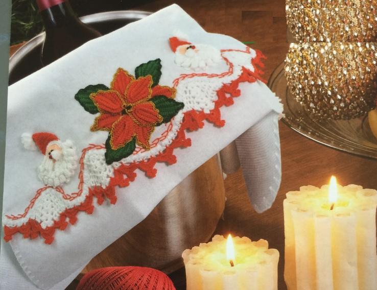 Pano de Prato Natalino Em Crochê – Material e Como Fazer