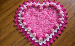 Tapete Coração Botão de Rosa Crochê – Material e Como Fazer