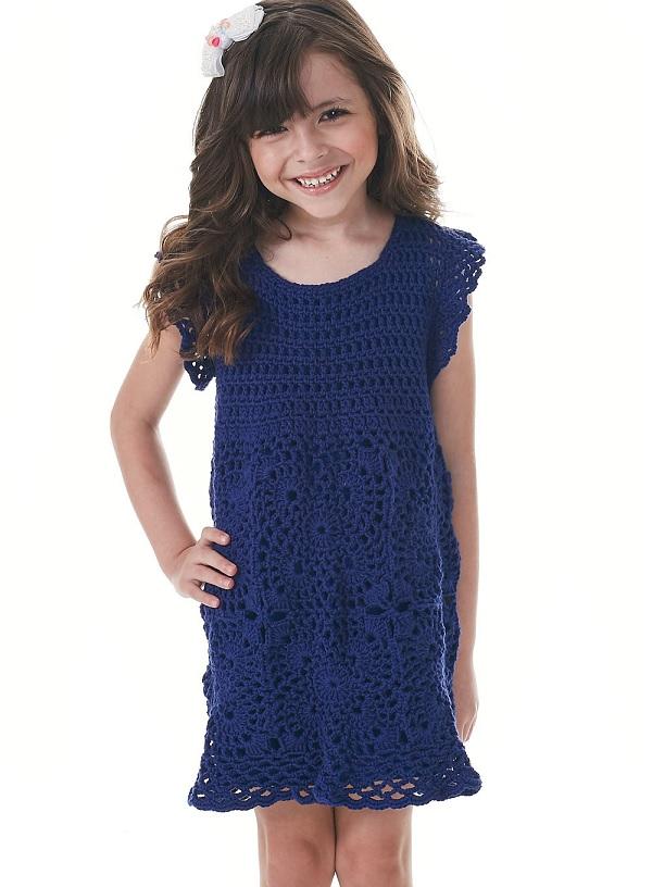 Vestido Infantil Motivos Em Crochê – Material e Como Fazer