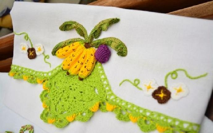 Pano de Copa Bananas Crochê – Material e Como Fazer
