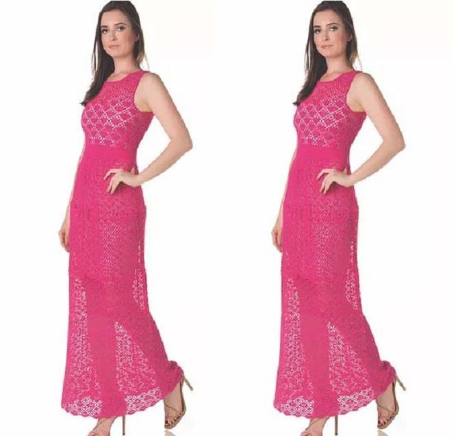 Vestido Longo Elegante Em Crochê Material E Receita