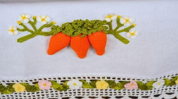 Pano de Prato Cenouras Em Crochê – Material e Receita