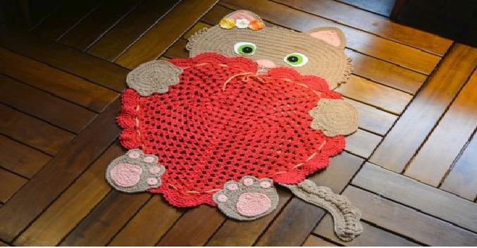 Tapete Gato Amoroso Em Crochê – Material e Receita