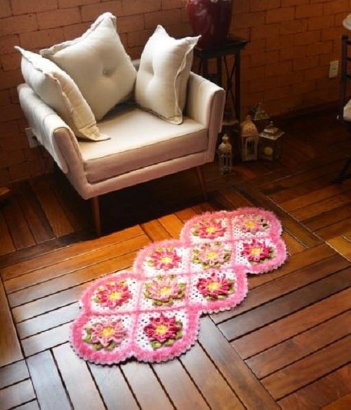 Tapete Crochê Floral Multicolor – Material e Receita