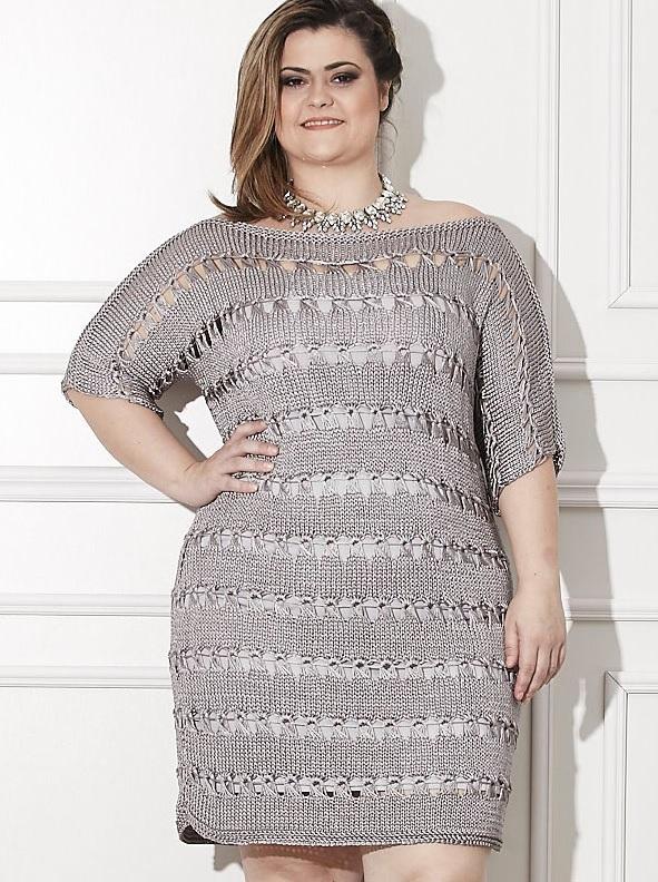 Vestido Prata Plus Size Tricô- Material e Receita