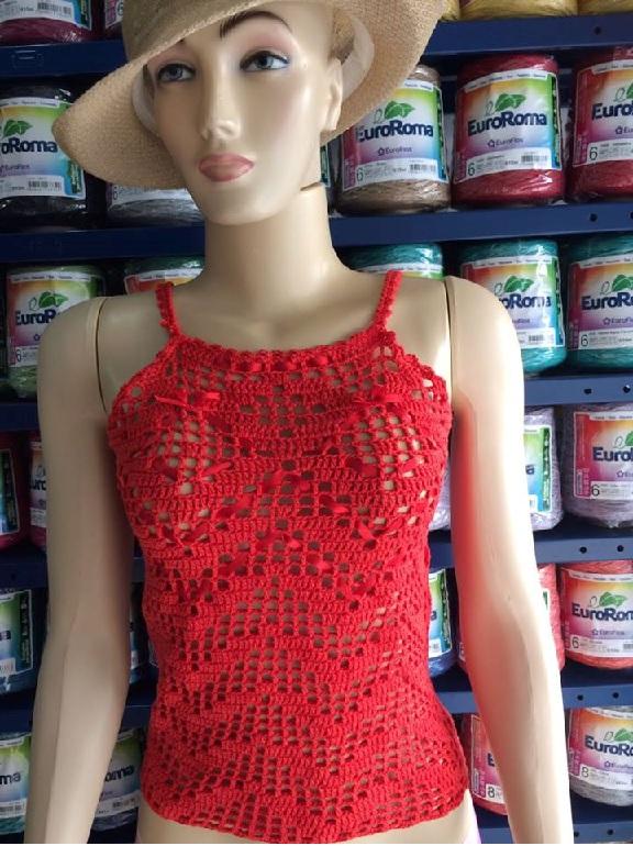 Regata Em Crochê Vermelha – Material e Receita
