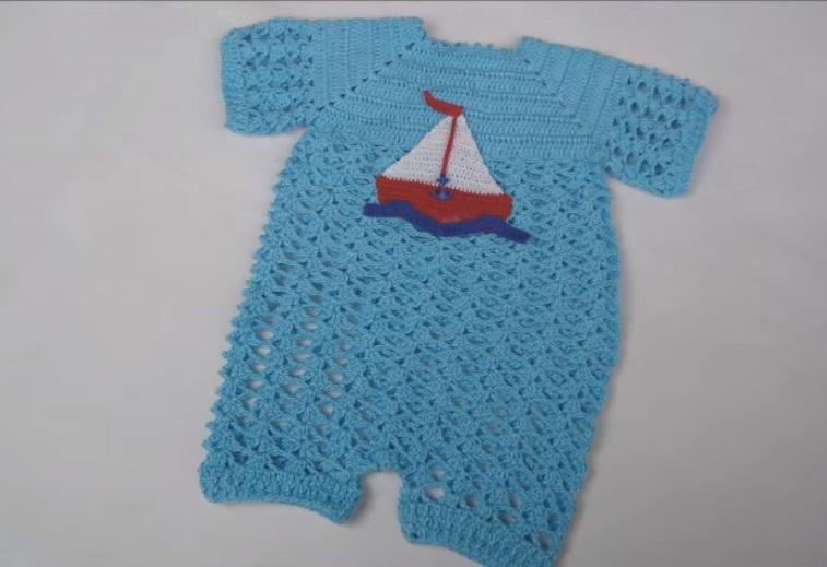 Macacão Bebê Barquinho de Crochê – Material e Vídeo