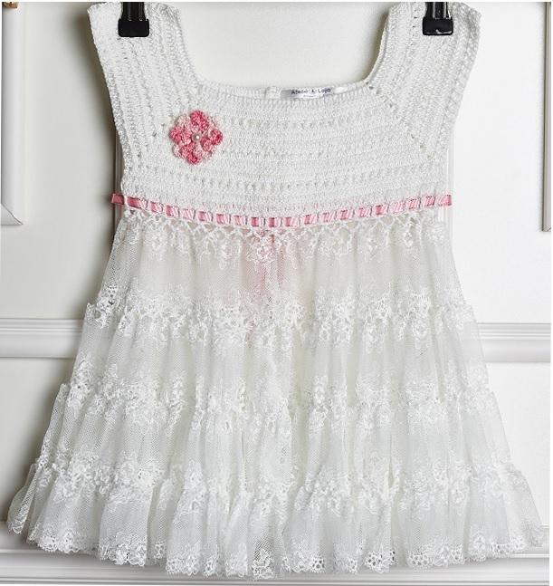 Vestido Branco e Rosa Crochê – Material e Receita
