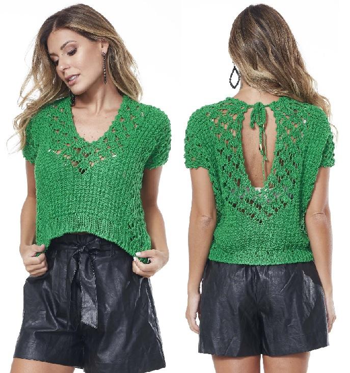 Blusa Barroco Verde Em Tricô – Material e Receita