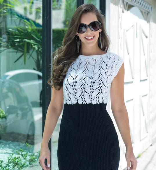 Vestido Branco e Preto de Tricô – Material e Receita