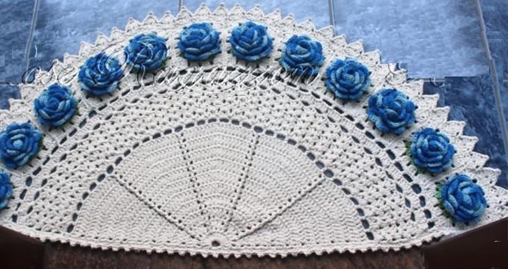 Tapete Meia Lua Rosas Crochê – Material e Vídeo
