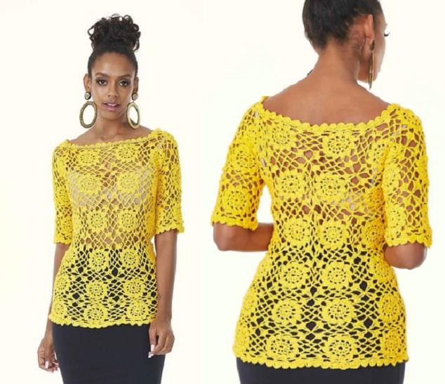 Blusa Glamour Amarela Em Crochê – Material e Receita
