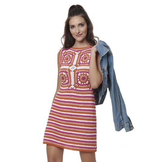 Vestido Square e Listas Crochê – Material e Receita