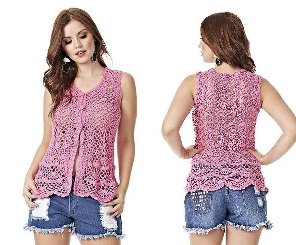 Blusa Glamour Rosa de Crochê – Material e Receita