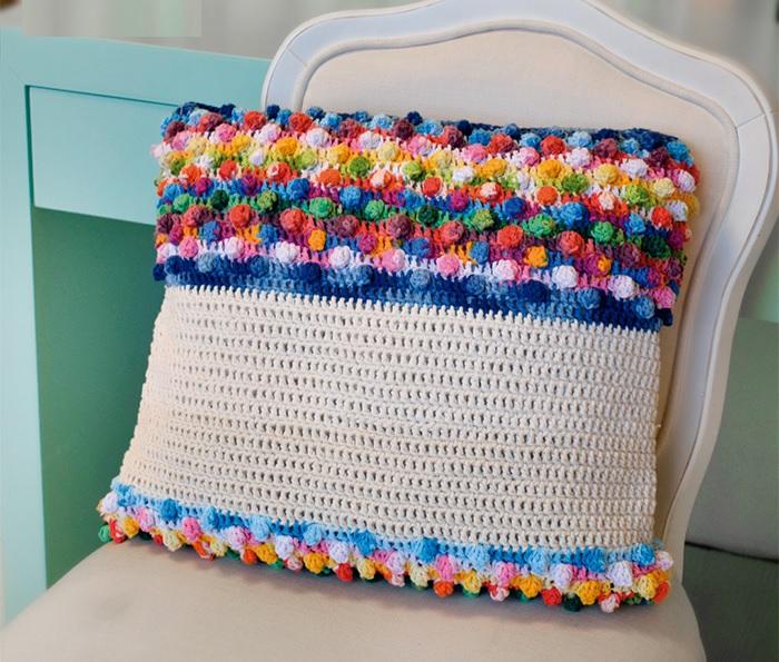 Almofada Pipoca Em Crochê – Material e Receita