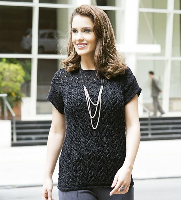 Blusa Preta Glam Tricô – Material e Receita