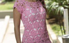 Blusa Rosa Decote Cigano Crochê – Material e Receita