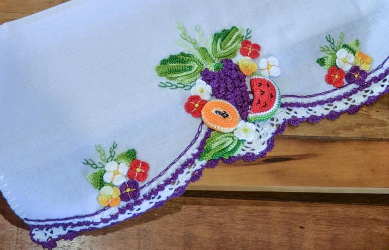 Pano De Prato Salada De Frutas Crochê – Material e Receita