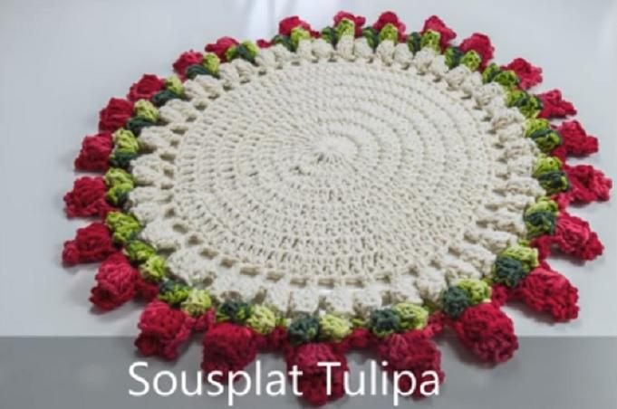 Sousplat Tulipa de Crochê – Material e Vídeo