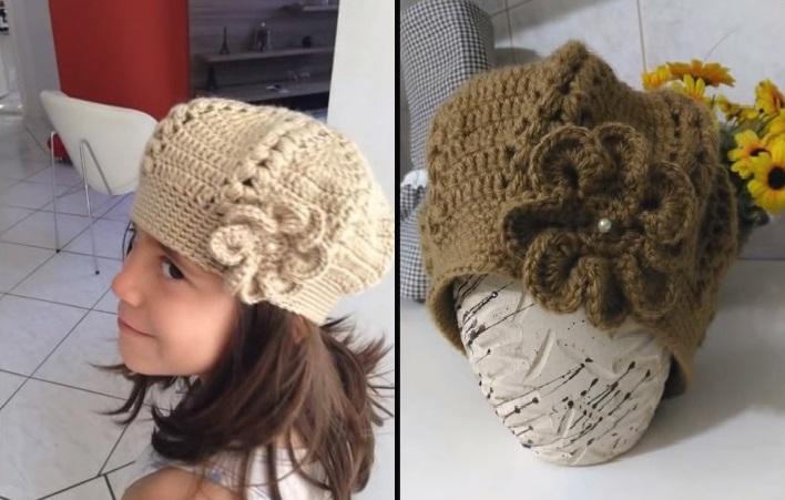 Boina Infantil Com Flor Crochê - Material e Vídeo  bb2621fa41c