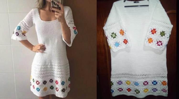 Vestido Linhas Coloridas Em Crochê – Material e Vídeo