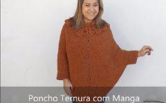 Poncho Ternura Com Manga e Gola de Crochê – Material e Vídeo