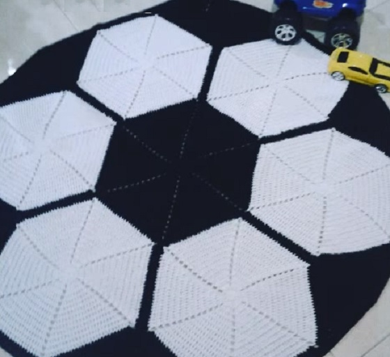 0706ba47c1 Tapete Bola de Futebol Crochê – Material e Vídeo